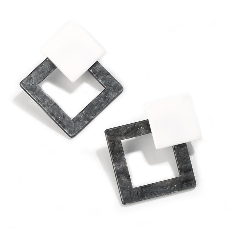 Корейские Модные Акриловые Серьги Геометрические Квадратные висячие серьги из смолы для женщин модные ювелирные изделия Oorbellen - Metal Color: Gray