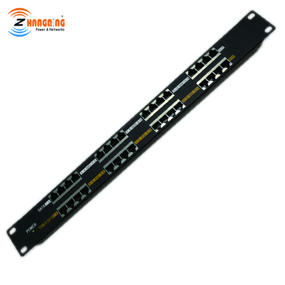 Passive PoE Patch Panel 16 Port Power over Ethernet Injector for VOIP camera AP and CCTV