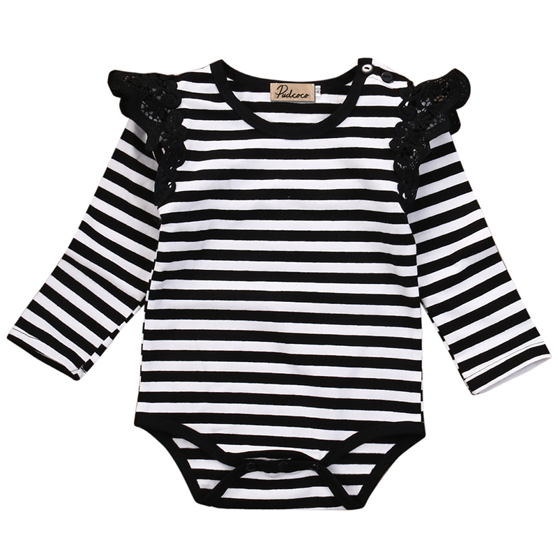 Rompers Baby Girls Clothing Todder Kids Infant Baby Girl Long Sleeve Romper O-Neck Striped Lace Jumpsuit Cotton Outfits Clothes