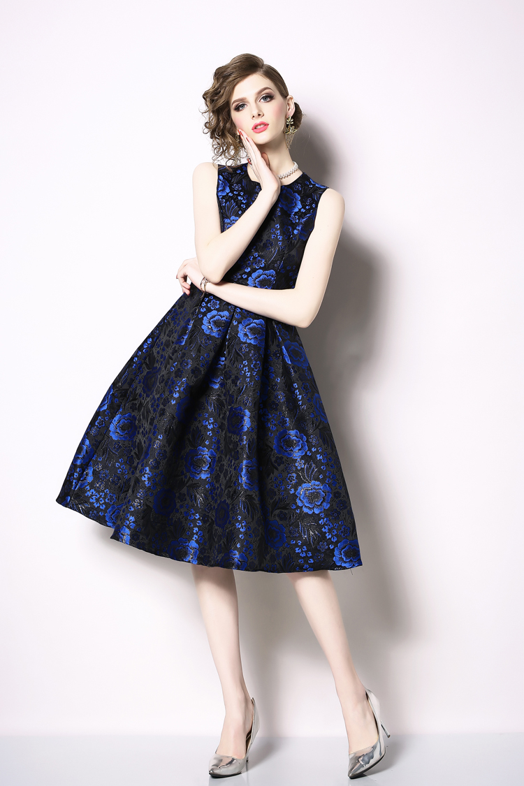 Elegant Sleeveless Printed Vintage Swing Dress 5
