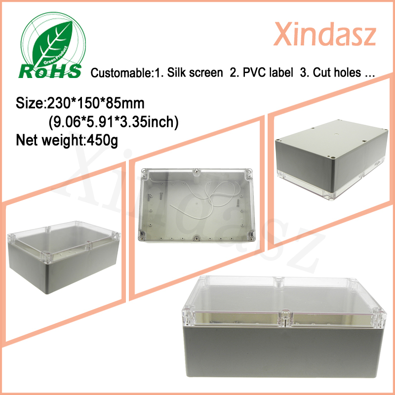 <font><b>230*150*85mm</b></font> Clear cover Transparent junction box plastic enclosure plastic box project image