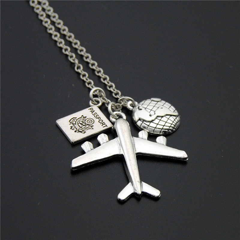 1pc 2018 Wanderlust Passport Earth Airplane Necklaces Pendants Silver Travling Jewelry E1020