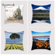 Fuwatacchi Scenic Style Cushion Cover Castle Moutain Pyramid Printed Pillow Cover Buddha Statue Decorative Pillows For Sofa Car тумба с раковиной sanvit лайм lux 75 с фактурой под дерево лиственница
