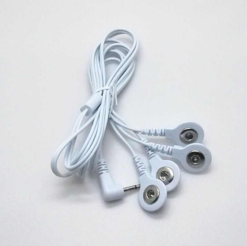 Top quality 5pcs/lot 2.5MM 4 in 1 Head electrode wires Connecting Cables for Digital TENS Therapy Machine Massager