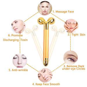 Image 5 - 2 in1 gesicht walze massager abnehmen gesicht roll 24k gold farbe vibration gesicht gesichts massager bar haut wrinkle lifting bar