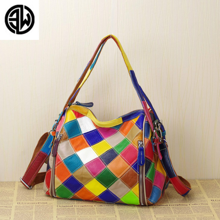2018 New Personality Fashion Designer Women Messenger Bags Famous Brand Color Block Bag Genuine Leather Cowhide Handbags Popular2018 New Personality Fashion Designer Women Messenger Bags Famous Brand Color Block Bag Genuine Leather Cowhide Handbags Popular