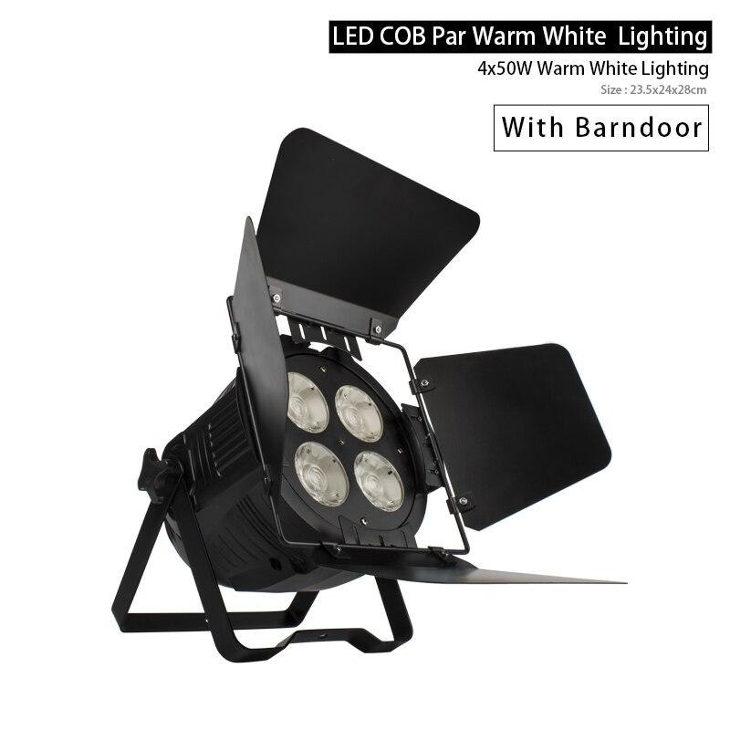 Led Par Lighting 4x50W COB Warm White Par With Bar Doors Led Spotlight DJ Light Disco Stage Lamps SHEHDS Music