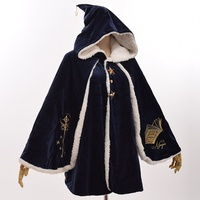 Girls Lolita Hooded Cloak Magic Cosplay Coat Winter Witch Cape Outwear Christmas Gift