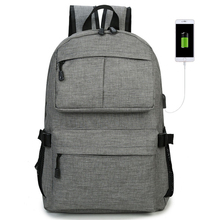 Backpack junior high school student bag external USB charging backpack Han Chao College wind high school female student backpack wenjie brother canvas shoulder college wind high school student bag junior high school student travel backpack small fresh