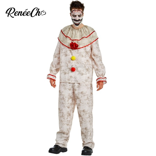 Halloween Costumes Scary Men.Us 28 29 35 Off Halloween Costume For Adult American Horror Story Men S Twisty The Clown Costume Scary Freaky Devil Cosplay 2018 Vintage Pierrot On