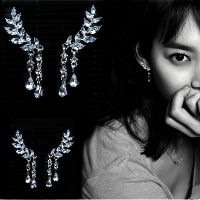 E0106 The New Fashion Jewelry Shining Crystal Leaves Earrings For Women 2017 Dou