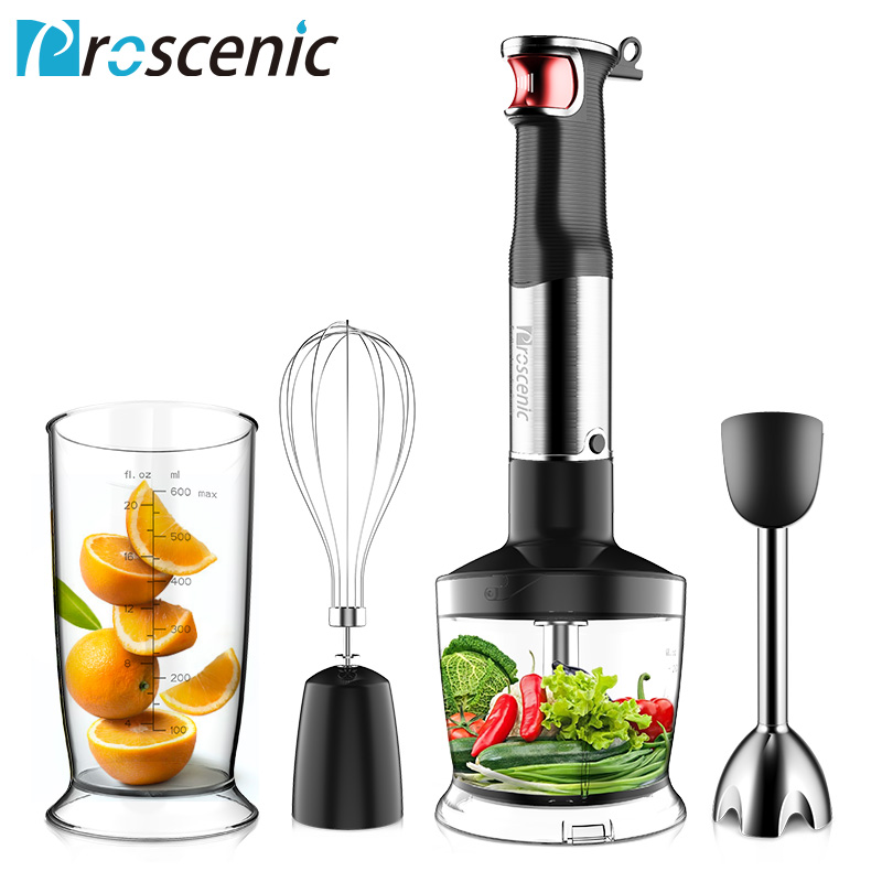 Proscenic Blender 800w Powerful Smart Speed Control 4 in 1 Stick Hand Blender Mixer for Kitchen Food Chopper Whisk