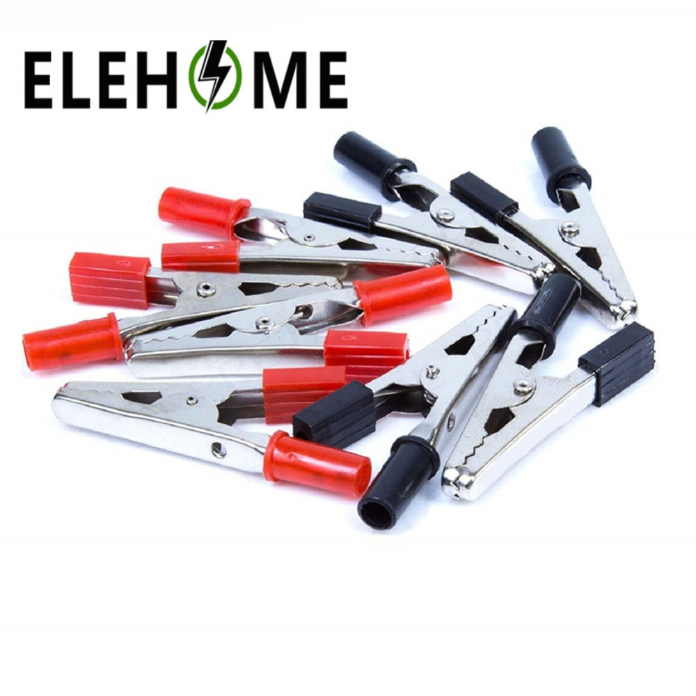 2pcs/lot 52mm Length Crocodile Clips Insulated Plastic Handle Cable Lead Testing Metal Alligator Clamps Clips XF5 red electrical cable alligator clips crocodile clamps test insulated clip 100pcs 34mm metal length