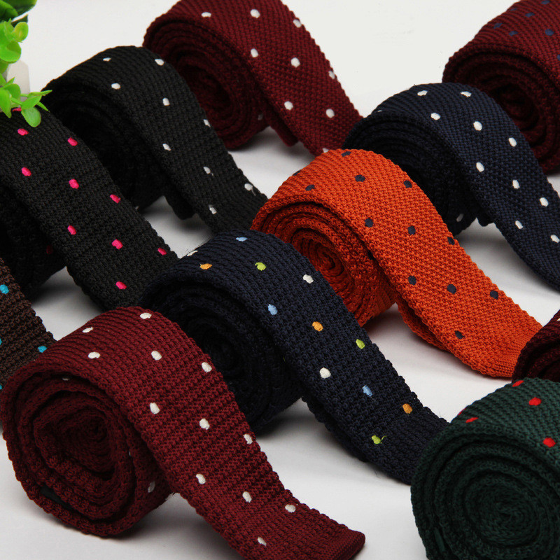 TagerWilen Men's Suits Knit Tie Plain Necktie For Wedding Party Tuxedo Casual Dots Woven Skinny Gravatas Cravats Accessories