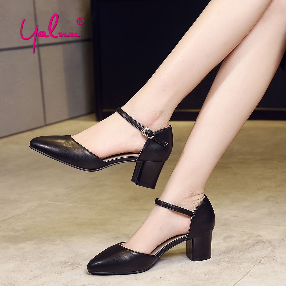 Summer Square Heels Pointed Toe Women Sandals Fashion Buckle Strap Casual Office Shoes Plus Size Thick High Heel Ankle Strap New xiaying smile summer new woman sandals platform women pumps buckle strap high square heel fashion casual flock lady women shoes page 8