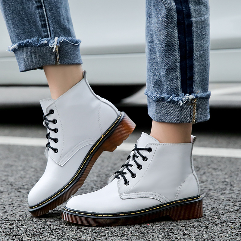 Fashion Women's Genuine Leather Shoes Platform Boots Autumn 2018 Lace up Leather Ankle Boots Women Martin Boots White Black women shoes spring autumn bright black martin boots lace up platform ankle boots quality genuine leather female motorcycle boots