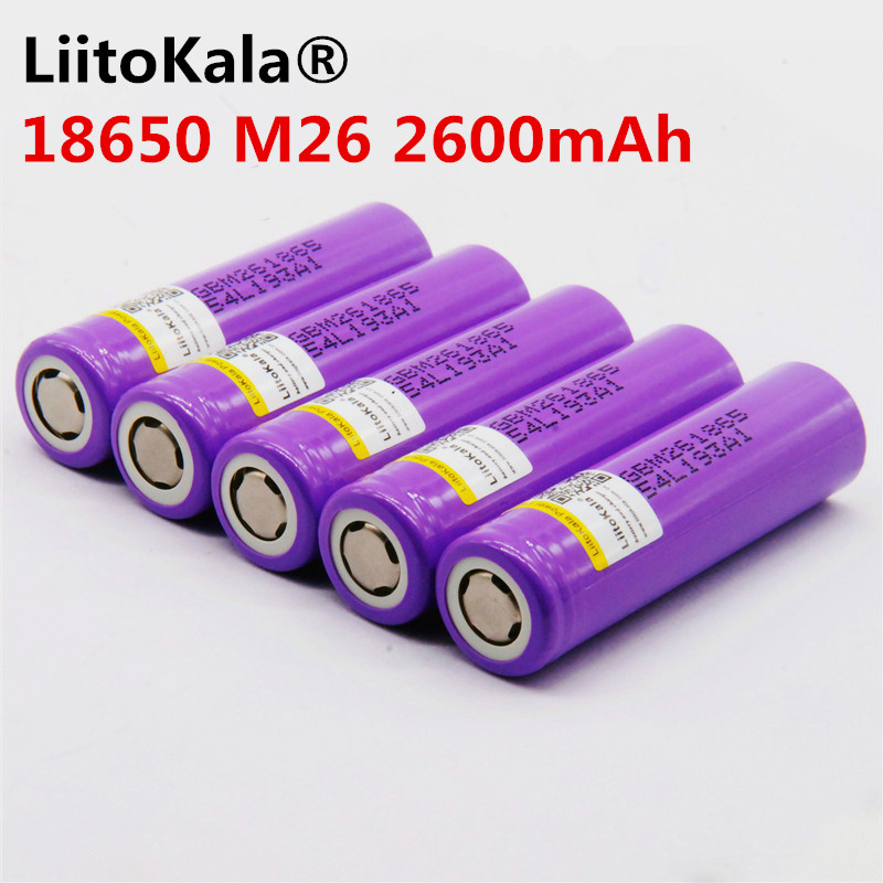 30 pièces 100% original LiitoKala pour M26 18650 2600 mAh 10A 18650 li-ion batterie de secours rechargeable pour ecig/scooter