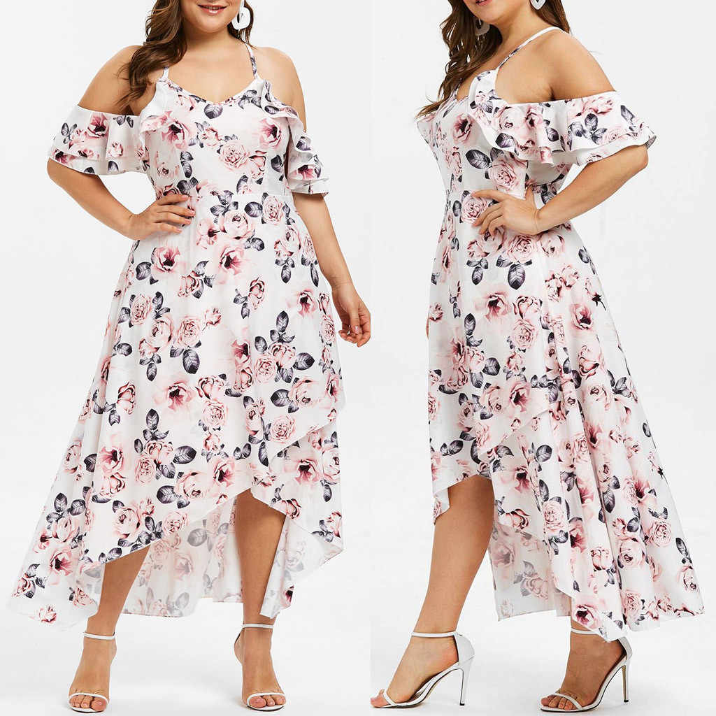 JAYCOSIN New Women Summer Dress Short Sleeve Off Shoulder Flower Maxi Long Dresses Beach Sundress Plus Size Vestidos dropship425