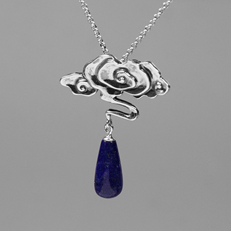 Image 2 - Lotus Fun Real 925 Sterling Silver Nature Lapis Stone Fine  Jewelry Vintage Peace Clouds Pendant Without Chain Necklace for  WomenPendants