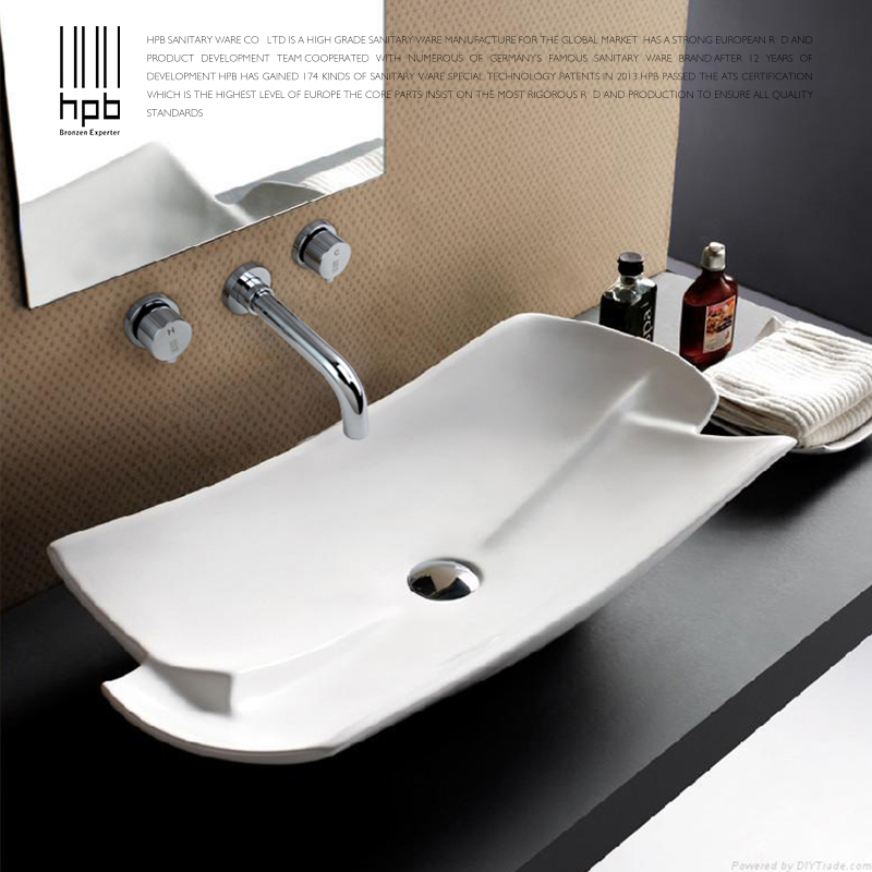 HPB New Arrival Contemporary Bathroom Basin Faucet Wall Mounted Hot and Cold Dual Handle Sink Mixer Tap torneira banheiro HP3301 free shipping polished chrome finish new wall mounted waterfall bathroom bathtub handheld shower tap mixer faucet yt 5333