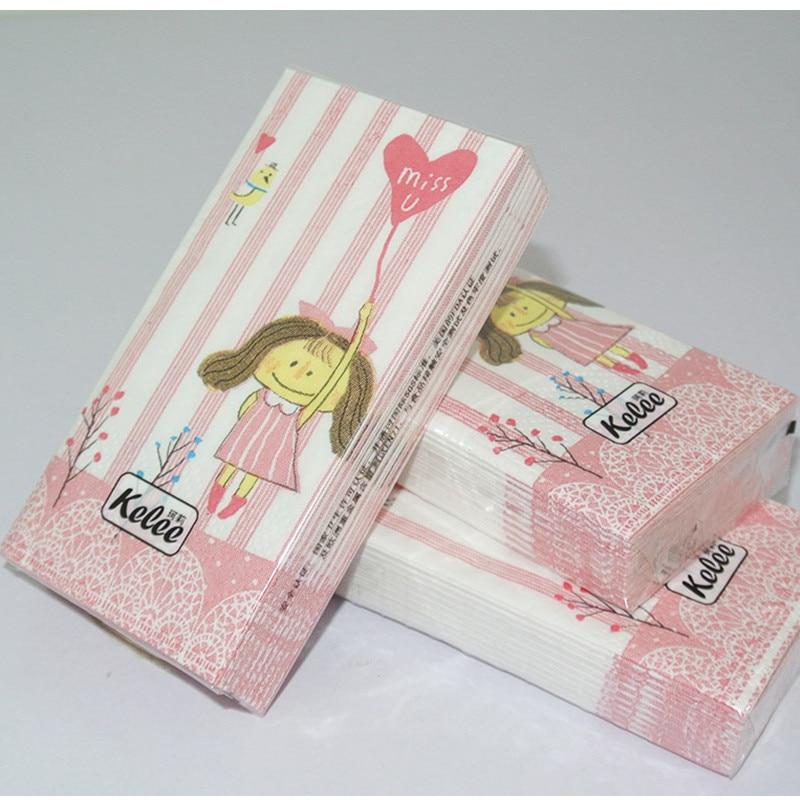 21*21 new desgin toilet tissue napkin paper printed cartoon boy girl heart MISS U handkerchief wedding serviette birthday party