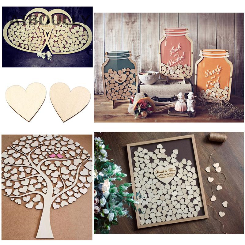 100pcs 20mm Mini Heart Shape Wood Slices For Wedding Crafts Embellishment Home Wall Deco ...