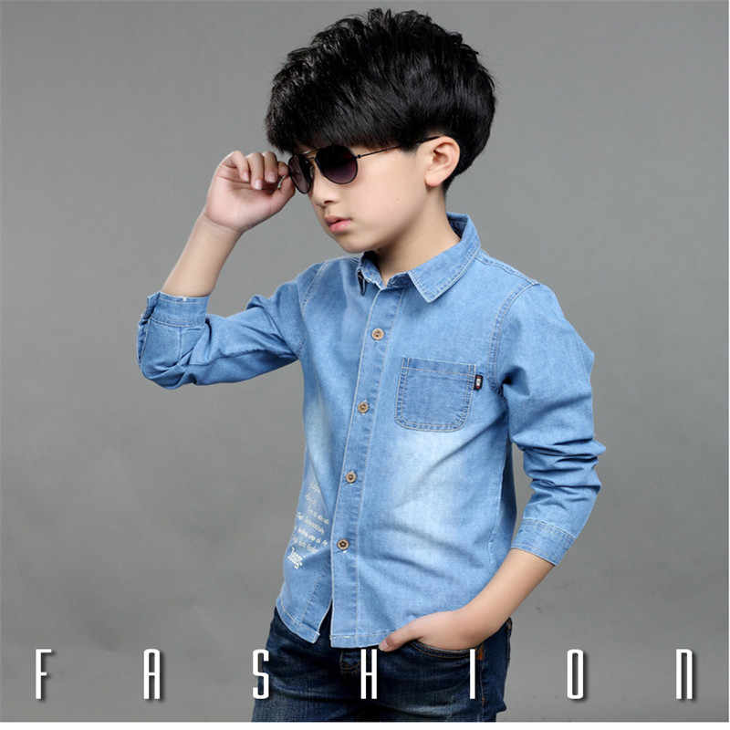 257060ba2da ... Boys jeans Shirt children's clothing Spring/Summer kids 100% denim  cotton long and short ...