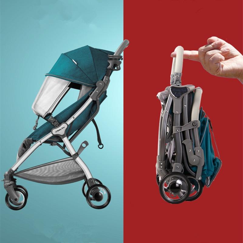 Nouveau bébé poussette légère landau poussette peut être dans l'avion haut paysage landau avec bande d'avertissement de sécurité