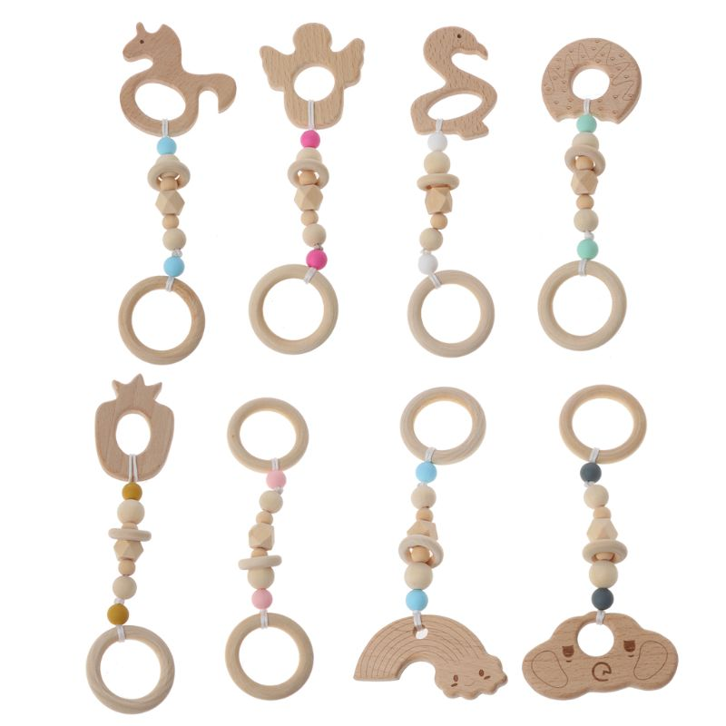 2019 New Baby Play Gym Nursing Cartoon Animal Wooden Teether Chew Beads Teething Wood Rattles Toys Teether Montessori Baby Care