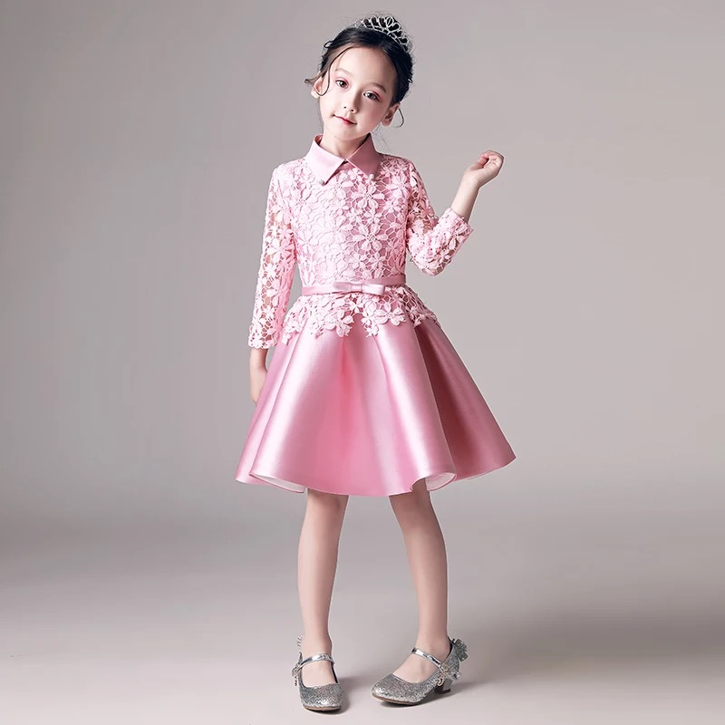 New Dresses For Girls Cute Lace Solid Pink Color Long Sleeves Children Dress Ball Grown Birthday Wedding Party Princess Dress light peach allover lace three fourth sleeves dress pink