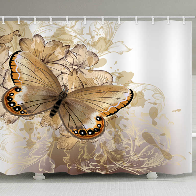 Butterfly  Shower Curtains Polyester Waterproof Shower Curtains Bath Curtain Bathroom Curtain