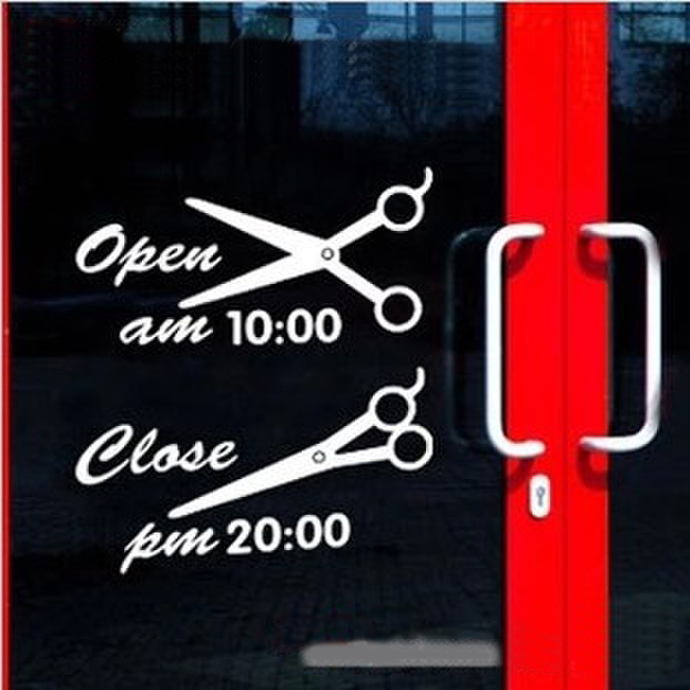 Time wall stickers glass decoration stickers french doors sticker