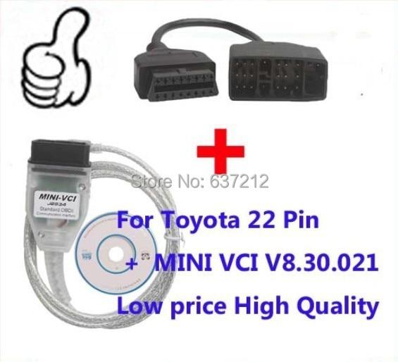Prix pour Pour Toyota 22 Broches OBD Adaptateur pour Toyota Tis Techstream 16 Broches Mini-VCI Interface, MINI-VCI J2534 OBD2 outil de diagnostic