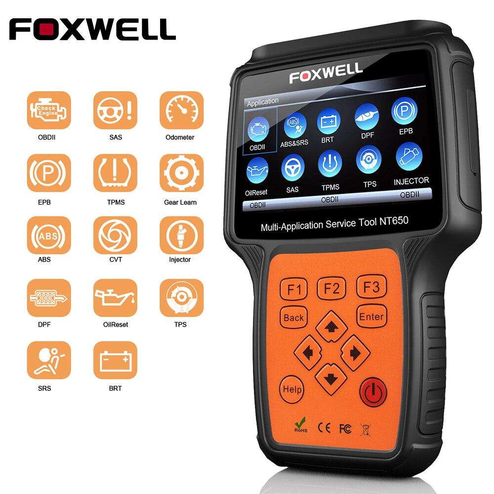 FOXWELL NT650 OBD2 Scanner Strumento di Diagnostica con ABS Airbag SAS EPB DPF 13 Speciale Sistema di Funzioni di Reset OBD2 Automotive Scanner