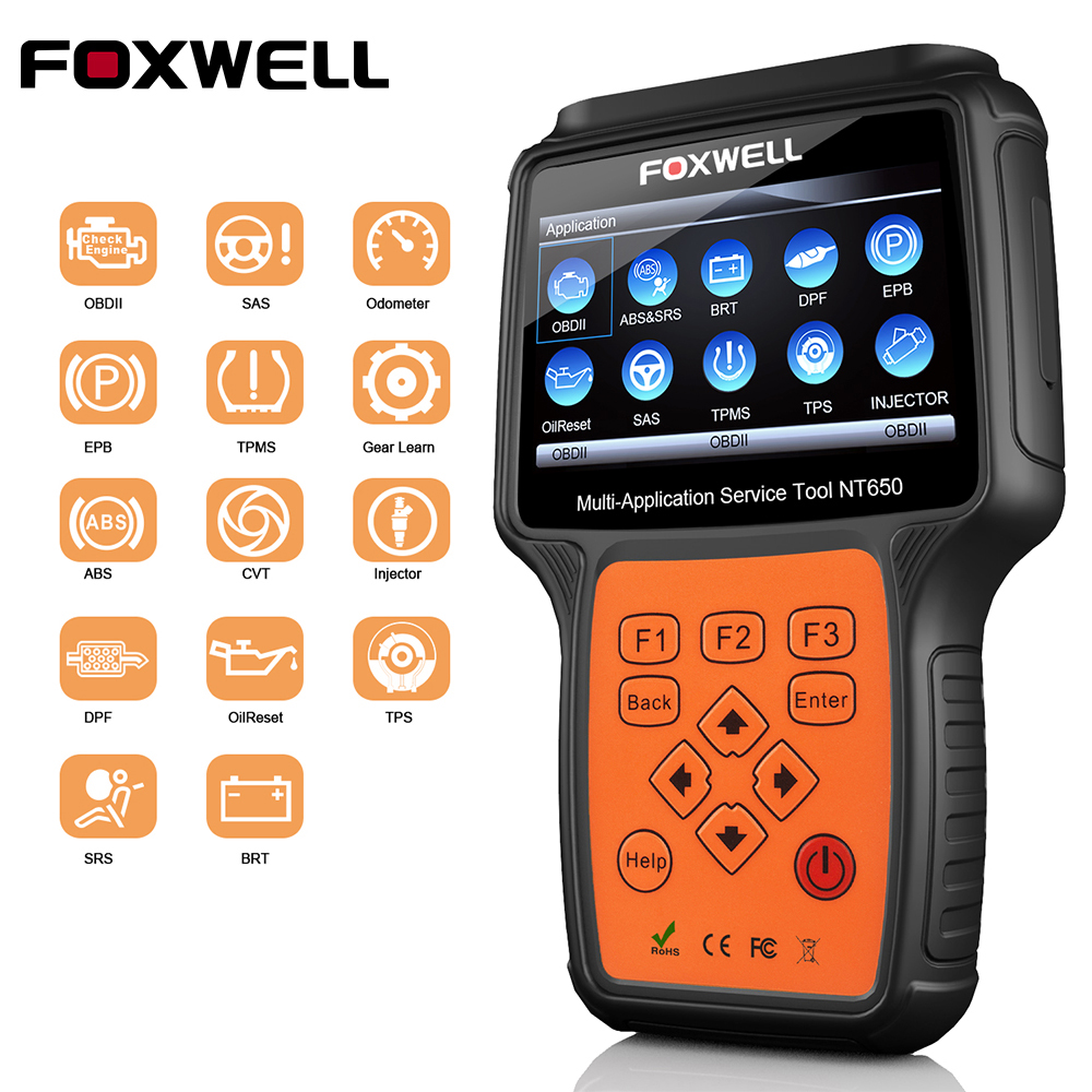 FOXWELL NT650 OBD2 Scanner Diagnostic Tool with ABS Airbag SAS EPB DPF 13 System Special Reset Functions OBD2 Automotive Scanner