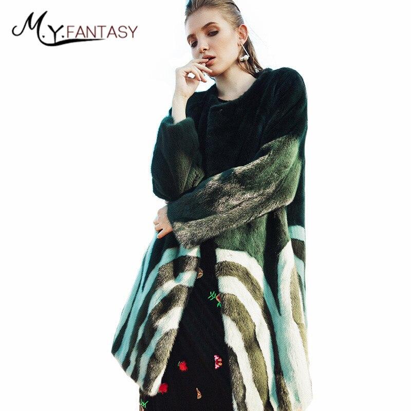 Manteau Manteaux M Trimestre Femmes De Impression 2019 Shuba Y Vison Neuf Moyen Rayé Couleur Vert Fourrure Hiver Fansty Contraste Réel Sq4pOUSw