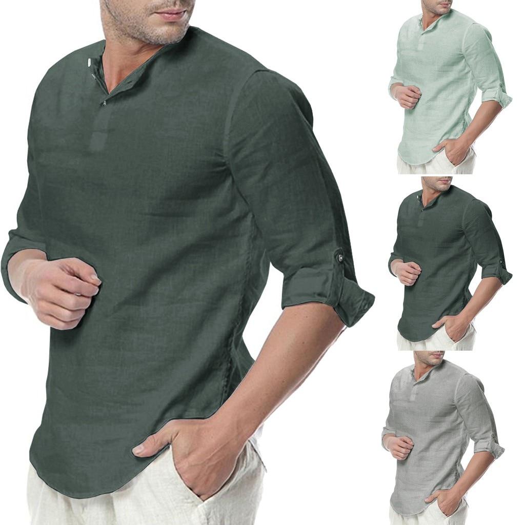 346a60eeb Blusa camiseta Casual suelta de Color sólido manga tres cuartos Botón de  lino para hombre
