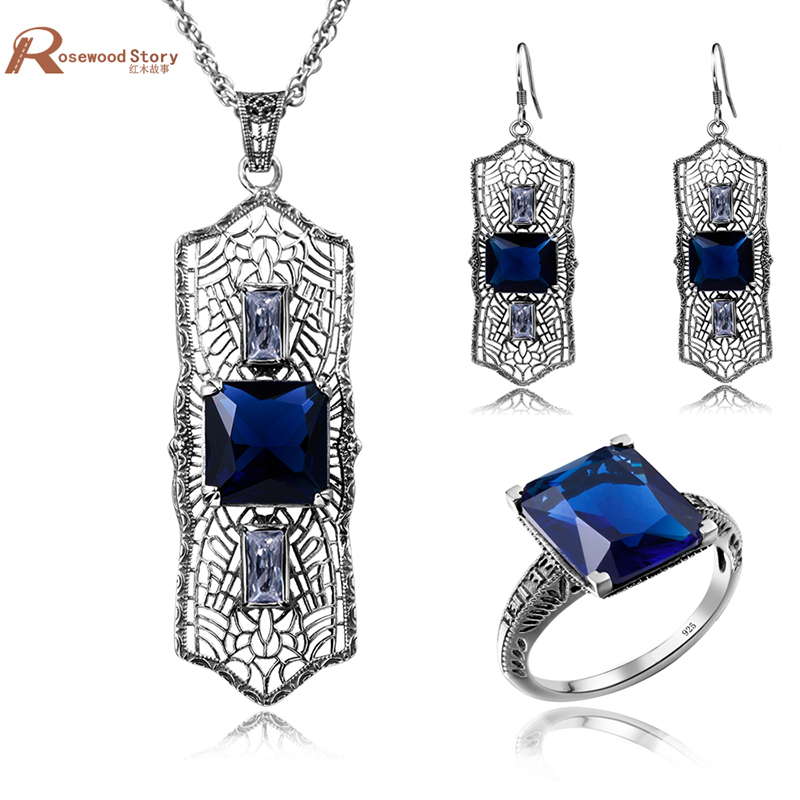 African Bijouterie 925 Sterling Silver Vintage Blue Rhinestone Dubai Indian Bridal Earrings Pendant Ring Female Jewelry SetsAfrican Bijouterie 925 Sterling Silver Vintage Blue Rhinestone Dubai Indian Bridal Earrings Pendant Ring Female Jewelry Sets