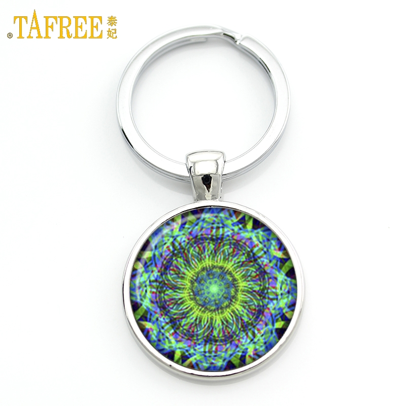 TAFREE Key chain Mandala Art Picture Glass Cabochon pendant Keychains Sacred Geometry Yoga Om Fashion Jewelry Key ring M01-17 цены онлайн
