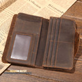 Men's classical vintage leather wallet Raw Natural Crazy Horse Cowhide Genuine Leather Purse for Men Card Wallet with Scrach