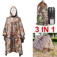 3 in 1 Multifunctional Raincoat Outdoor Camp Rain Poncho Backpack Rain Cover Waterproof Tent Awning Climbing Travel Kits