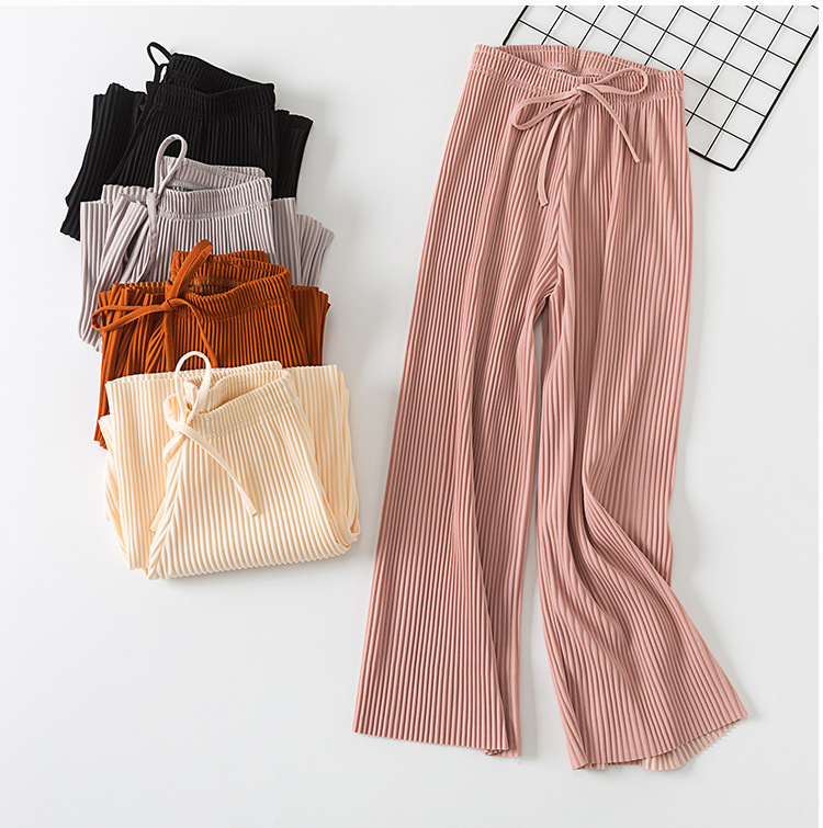 2019 New Stretch Pleated   Pants   Korean Women Ankle Length Trousers Loose   Wide     Leg     Pants   Female Summer High Waist   Pants
