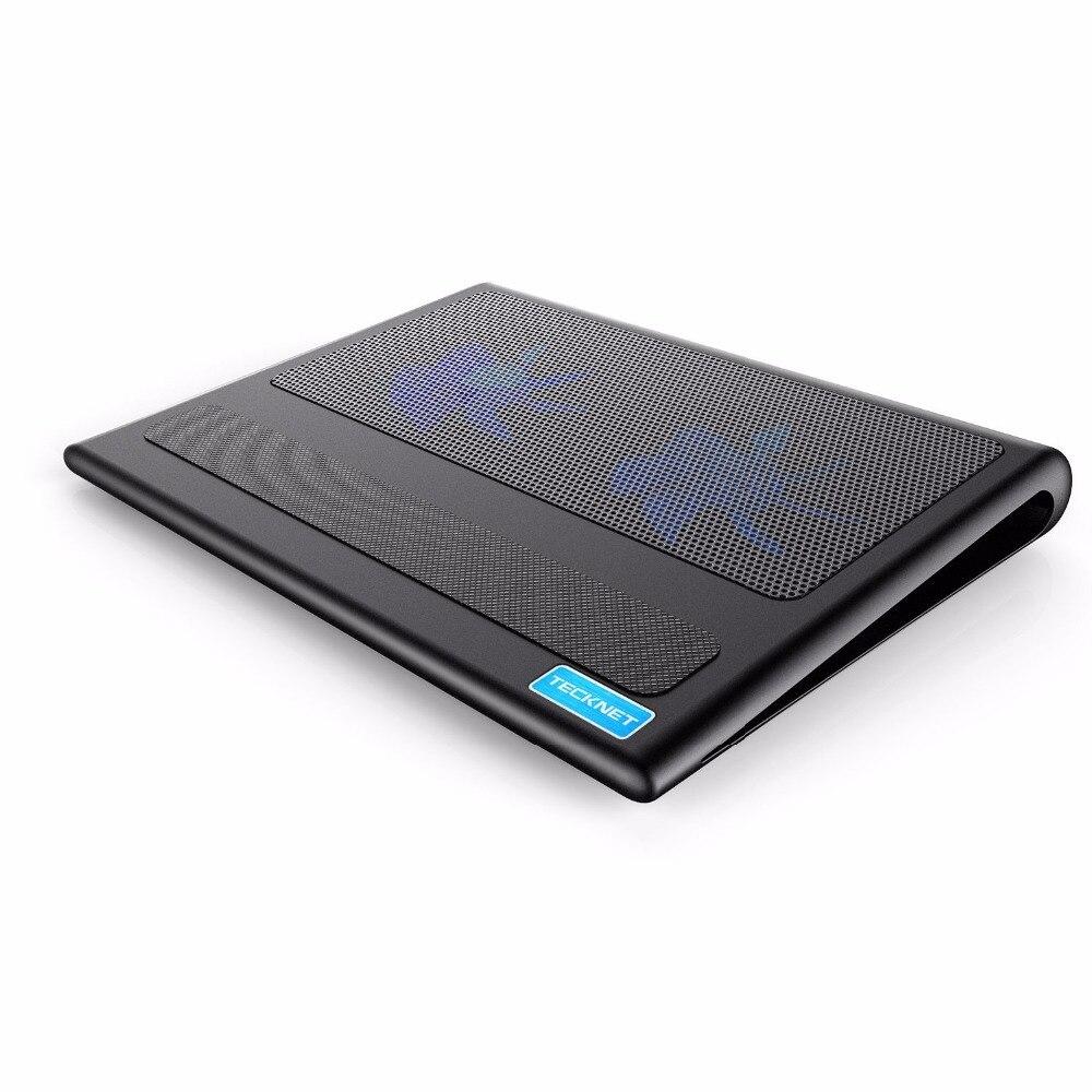 TeckNet portátil y portátil almohadilla de refrigeración 2 ventiladores ordenador portátil enfriador se adapta 9-16 pulgadas para ordenador portátil PC almohadilla de refrigeración