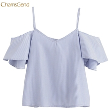 CHAMSGEND Shirt Women Summer Chiffon Tops Sleeveless Blouses For Women Clothes Ruffle Elegant Vintage  Drop Shipping Gifts