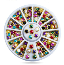 1 Box Pearl Gem Shinning Nail Rhinestones Sharp Flat Bottom Studs 3D Nail Decor Manicure Nail Art Decoration In Wheel, ZP-04.... цены