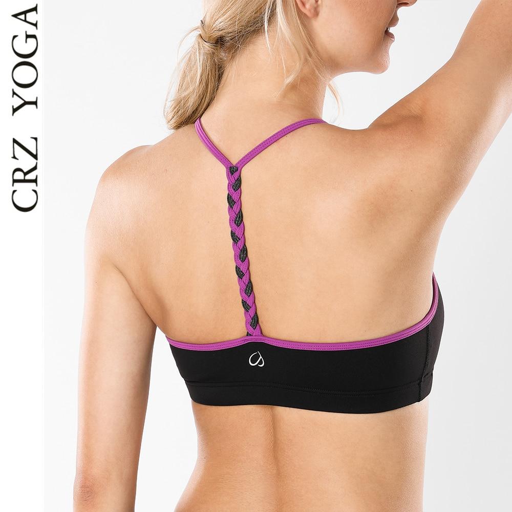9c900ac7b3c84 CRZ YOGA Women s Braided T-Back Comfortable Yoga Sports Bra Light Support  Fitness Top