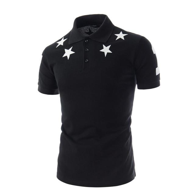Estilo de corea Del Verano Nuevos Hombres de la Marca Polo Camiseta Estrellas Impreso Moda Camisas de Polo de Los Hombres de Manga Corta Polos