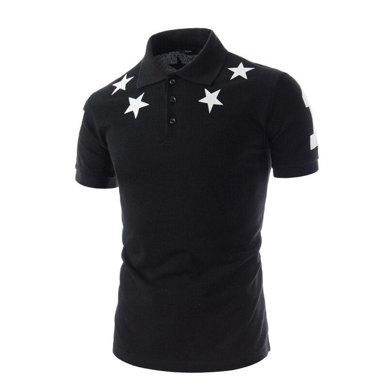 Korean Style Summer New Brand Men Polo Shirt Stars Printed Fashion Polo Shirts Men Short Sleeved
