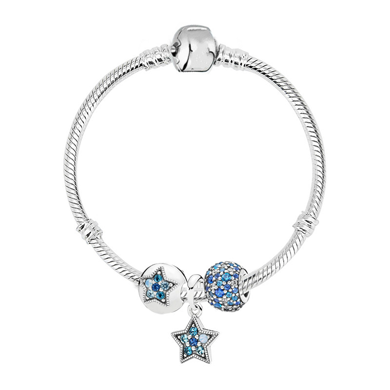 Authentic 925 Sterling Silver Snake Chain Bright Star With Multi-colored Crystals Pandora Bracelet Diy JewelryAuthentic 925 Sterling Silver Snake Chain Bright Star With Multi-colored Crystals Pandora Bracelet Diy Jewelry