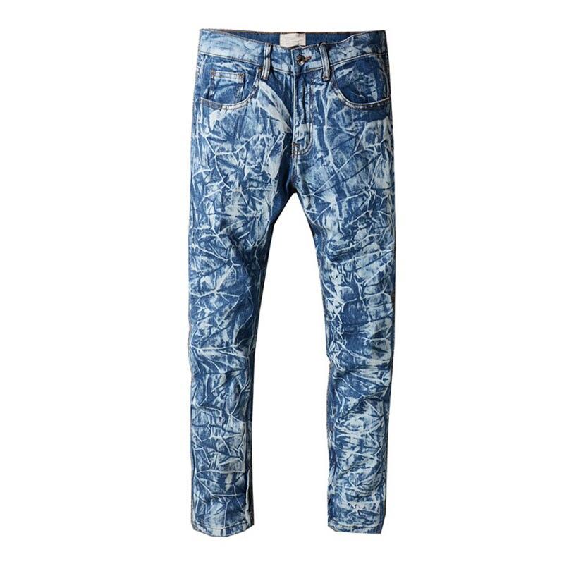 Mcikkny pantalon en jean délavé à la neige pour hommes pantalon en Denim droit bleu pantalon en jean plissé homme Hi-street pour homme